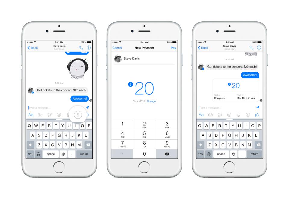 inviare denaro con facebook messenger