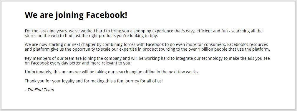 Facebook compra The Find Buys Ecommerce search app.
